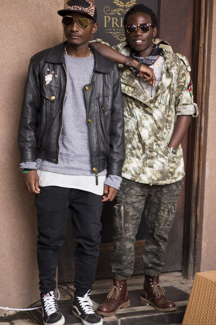 Layered camouflage and leather jacket, seen at Trift Social 6 in Nairobi