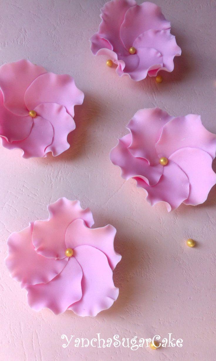 Gumpaste fondant flowers ruffle Wedding favor Bridal shower Baby girl shower Pink edible sugar flower First birthday Christening…