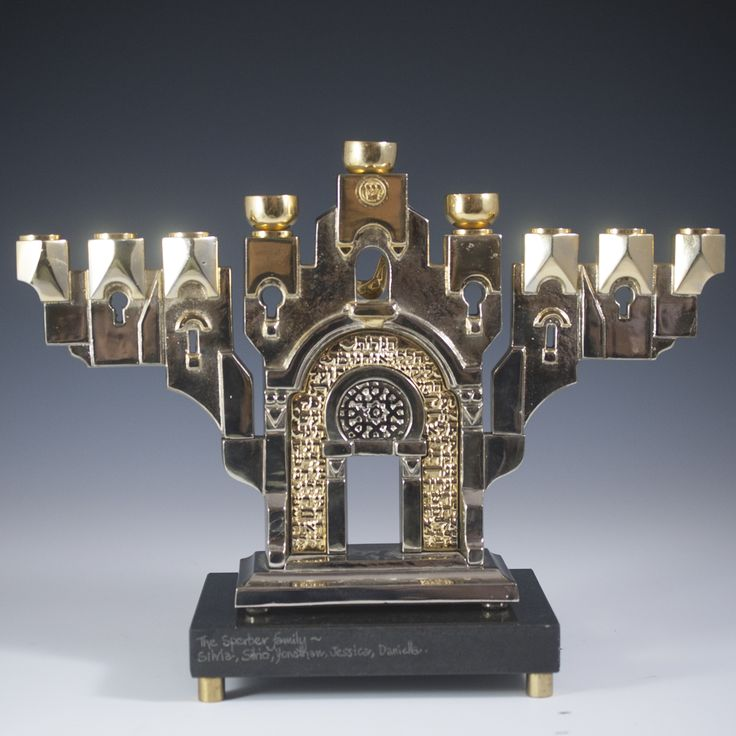 "DESCRIPTION: Frank Meisler art titled: ""Golden Gate Menorah"". Features a Menorah in silver and gilded tones made to look as a structure, above…"