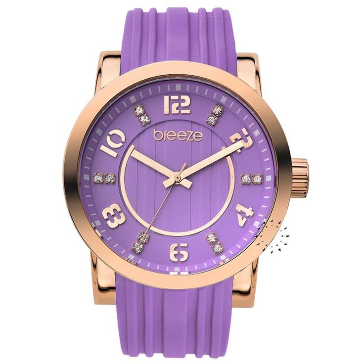 BREEZE Ocean Drive Purple Rubber Strap Μοντέλο: 110041.9 Τιμή: 125€ http://www.oroloi.gr/product_info.php?products_id=30528