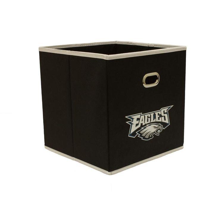 Philadelphia Eagles NFL Store-Its 10-1/2 in. W x 10-1/2 in. H x 11 in. D Black Fabric Drawer, Philadelphia Eagles/Black