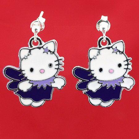 Hello Kitty Earrings Earrings for Girl Violet Hello Kitty Earrings, Dangle Earrings, Silver Earrings for Girl, Ready to Ship, Ready for Gift by modotikon on Etsy