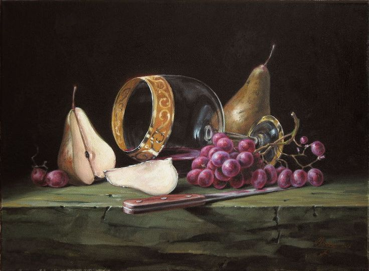 Classical realism oil painting. Fine art still life of wine and fruit. Oil on canvas