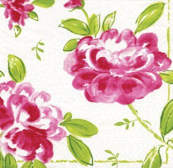 Caspari Entertaining with Caspari Isabelle's Peony Paper Luncheon Napkins, Pack of 20: Amazon.co.uk: Kitchen & Home