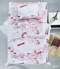 66 Route Map 100% Cotton Single Size Bed Quilt/Doona/Duvet Cover Set Brand New