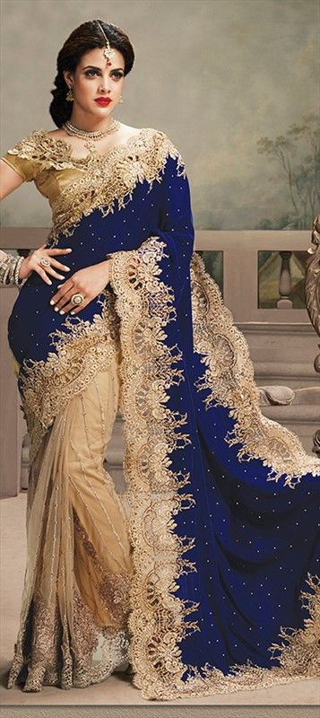 147391, Bollywood sarees, Net, Satin, Machine Embroidery, Sequence, Patch, Lace, Blue, Beige and Brown Color Family