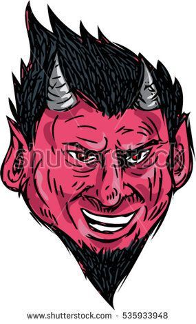 Drawing sketch style illustration of a demon head with horns and goatee viewed from front set on isolated white background.  #demon #sketch #illustration