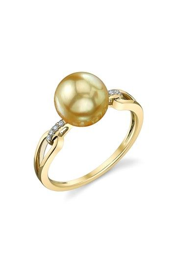 14K Yellow Gold 9mm Golden South Sea Pearl & Diamond Ring