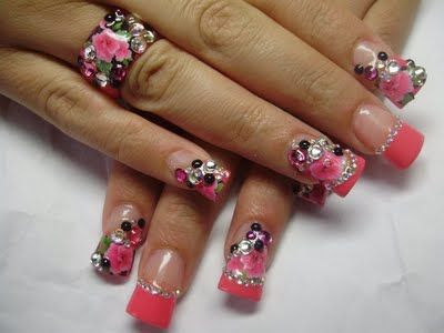 Acrylic Nails With Rhinestones | hot pink nail design with rhinestones and flowers and nail design with ...