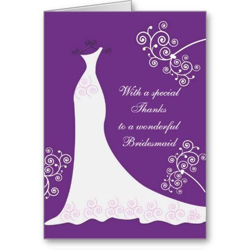 White Dress Swirls On Purple Wedding Thank You Greeting Card