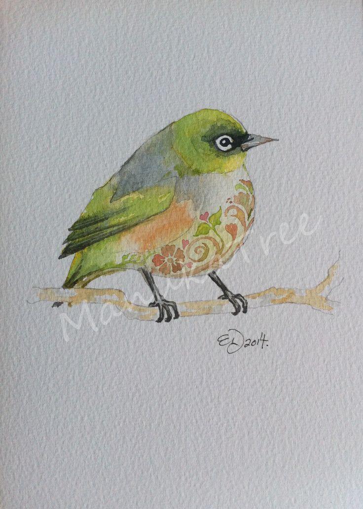 Tauhou - NZ native waxeye  http://felt.co.nz/listing/226188/Original-watercolour---Elizabeth-Dodd