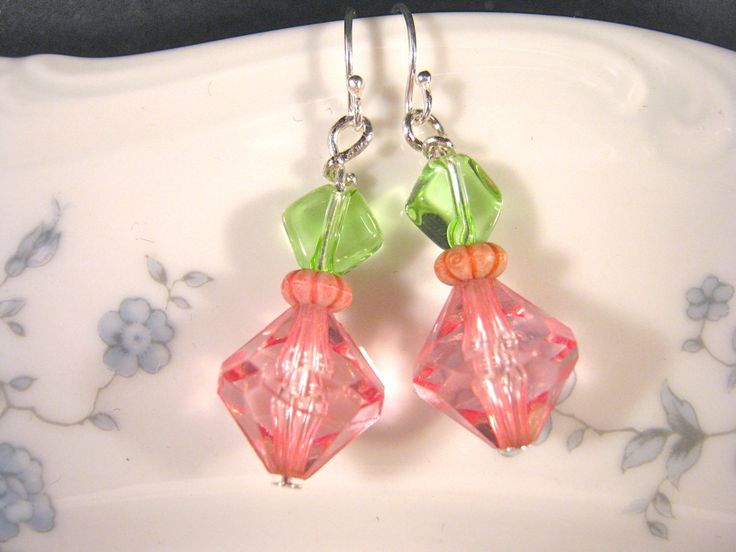 These go perfectly with other items in the collection!  Vintage Earrings, Reclaimed, Upcycled, Pink, Green, Silver, Pierced, Dangle, Glass, Bead, Crystal, Jennifer Jones, OOAK, Under 30, Debutante by JenniferJonesJewelry on Etsy