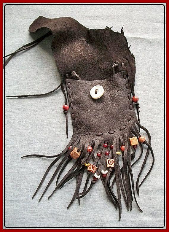Dark Chocolate Leather Neck Pouch Antler by aboriginalsbykate