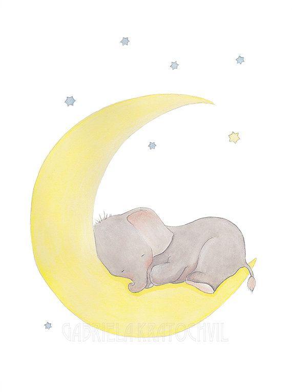 Titel; Babyolifant in slaap op de maan  Formaatopties;  Papierformaten  8.5x11 inch is 21.6x28cm  5 x 7 inch is 12.7x17.7cm   Dit is een afdruk van mijn oorspronkelijke illustratie.   De afbeelding wordt gecentreerd om te passen bij het verlaten van een witte rand rond papierformaat.  Alle mijn Prints worden gemaakt door mij, in een mooie zwaargewicht Epson papier 200g/m2. Ziet er mooi, zoals in de oorspronkelijke afbeelding.  Alle monitoren zijn verschillend, zodat kleuren kunnen enigszins…