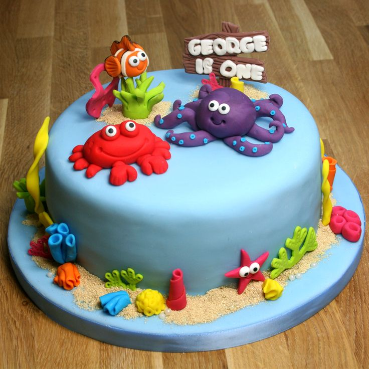 Under The Sea Cake tutorial | Octopus, Crab, Starfish & Clownfish Toppers