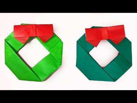 折り紙 リースの簡単な折り方4(niceno1)Origami Wreath tutorial - YouTube