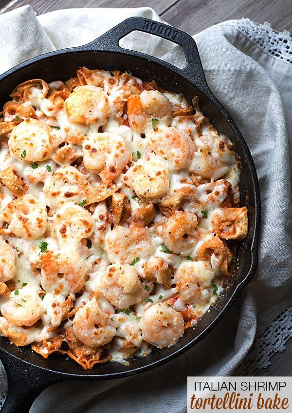 Easy #Italian Shrimp Tortellini Bake. Shrimp + #Cheese = Dinner Perfection!