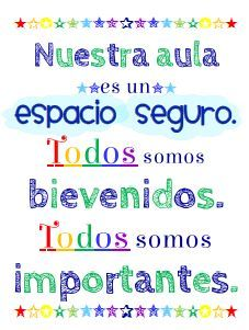 #Spanish poster for the #Spanish classroom. Nuestra aula es un espacio seguro.