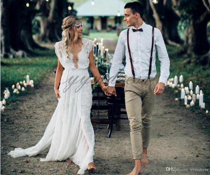 2019 Boho Wedding Dresses Deep V Neck A Line Lace Applique Beach Bridal Gowns Sweep Train Bohemian Vestidos De Noiva