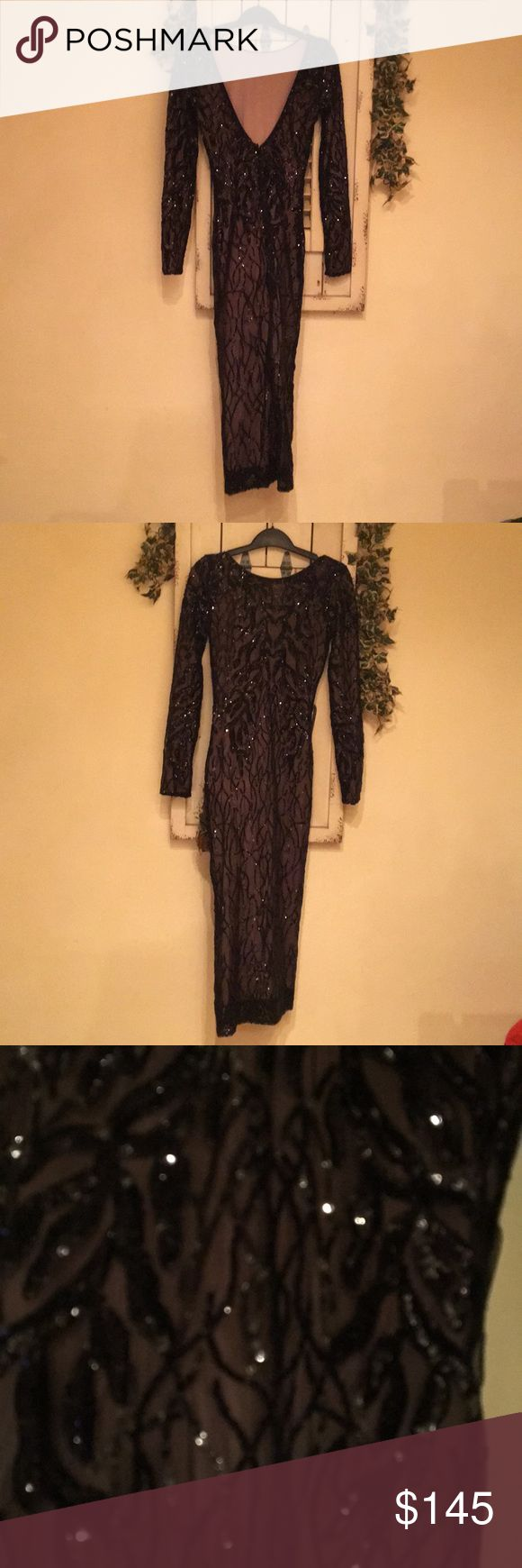 Dress the population Catalina vine dress Beautiful black sequin vine midi dress, nude lining. Worn once for a few hours. It's been dry cleaned. This dress is perfect. Fits beautifully, perfect condition. Multiple compliments when I wore it. Low back but can wear strapless bra if needed. Dress the Population Dresses Midi