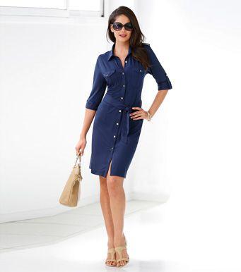 Vestido camisero mujer manga regulable y cinturón Moda Mujer 1A Venca