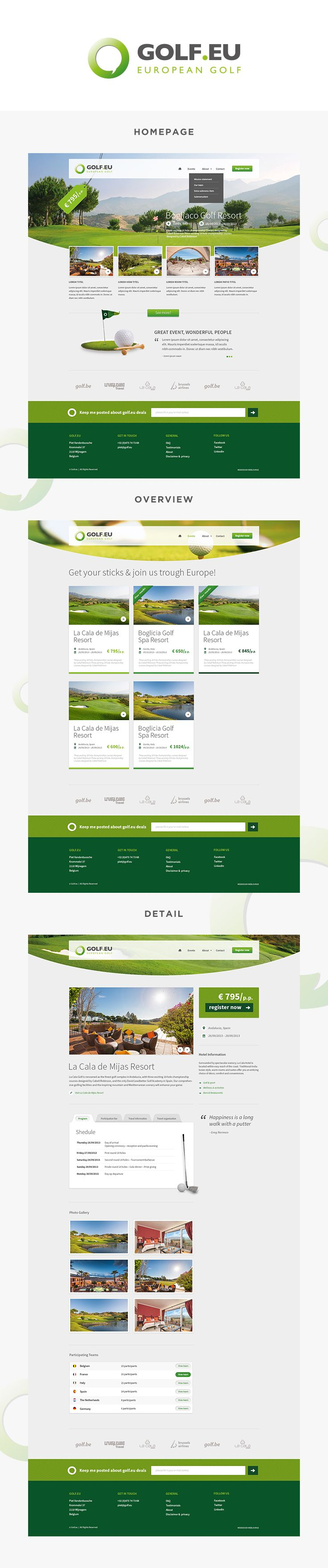 #webdesign for Golf.eu #golf #layout #design by www.weblounge.be