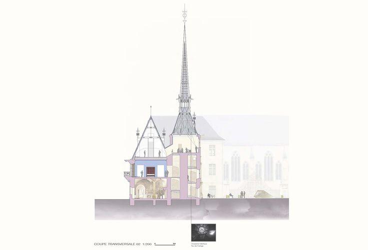 RCR BEAUDOUIN ARCHITECTES MUSÉE LORRAIN NANCY MUSÉOGRAPHIE COUPE TRANSVERSALE 02