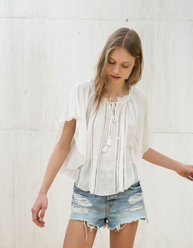 Blusa larga bordado vertical - Mulher - Bershka Portugal