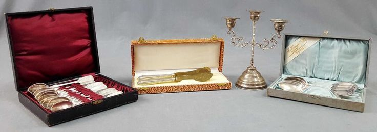 Silver Cutlery and a Candlestick. Also Art Nouveau…