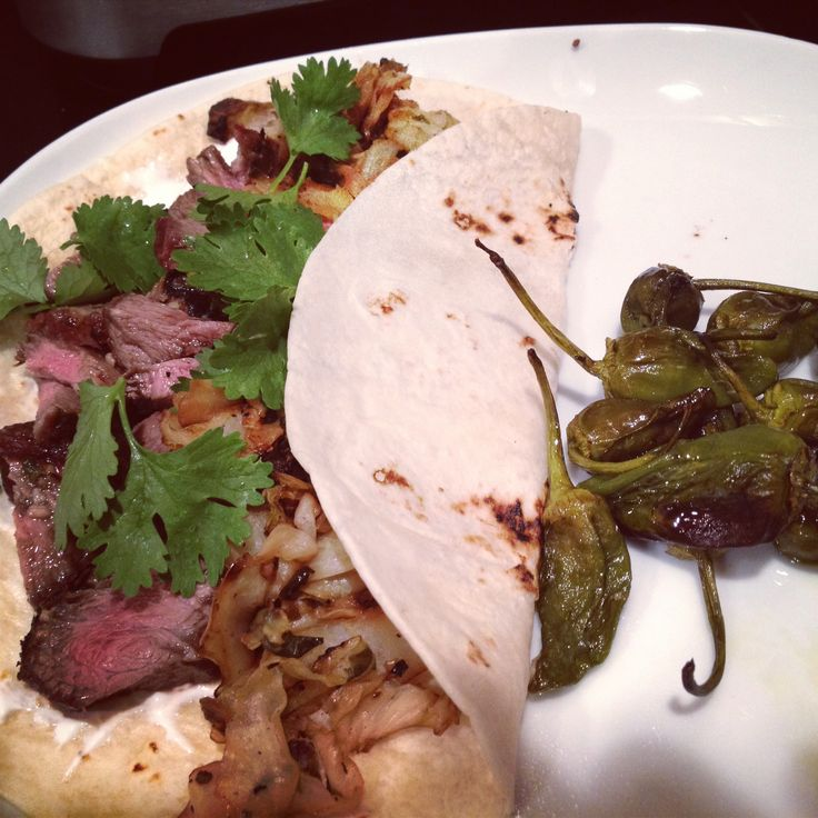 Taco Thursday: Carne Asada Steak + Padron Peppers + Cabbage Slaw