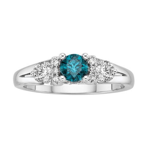 Popular Fred Meyer Jewelers ct tw White and Treated Blue Diamond Ring
