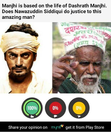 Praise all around. @Nawazuddin_S- full points. #ManjhiTheMountainMan on mynit @ Play Store @ ow.ly/PjD59