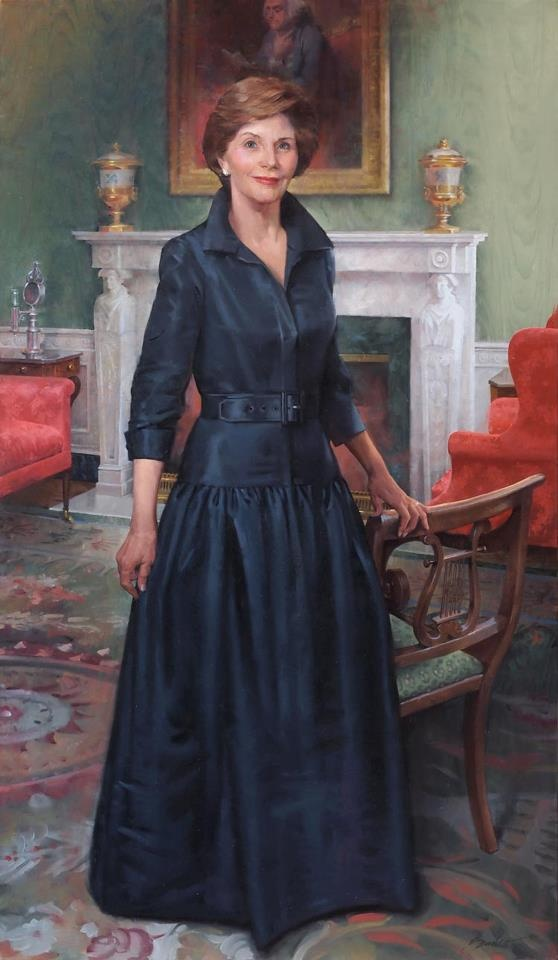 Former First Lady Laura Bush's official White House portrait, painted by John Howard Sanden. Beautifully done.