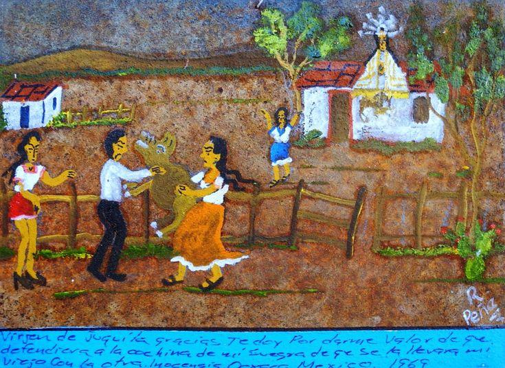 Дева Хукиланская, благодарю тебя за то, что придала мне мужества отстоять свинью моей свекрови, которую хотели утащить мой муженек и его любовница.  Иносенсия Оахака, Мексика, 1969