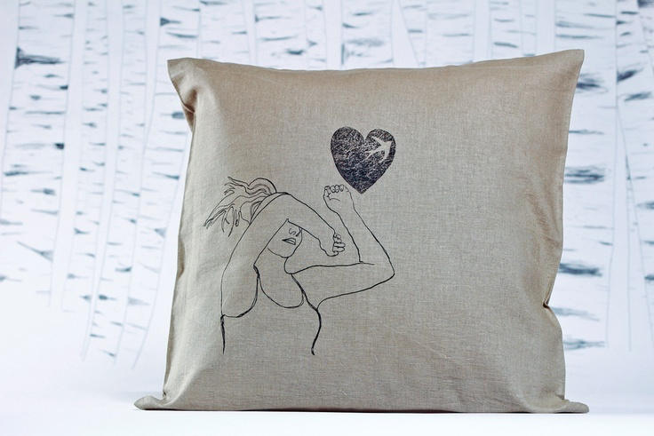 Girl with Swallow.: limited edition, screen print pillow-case