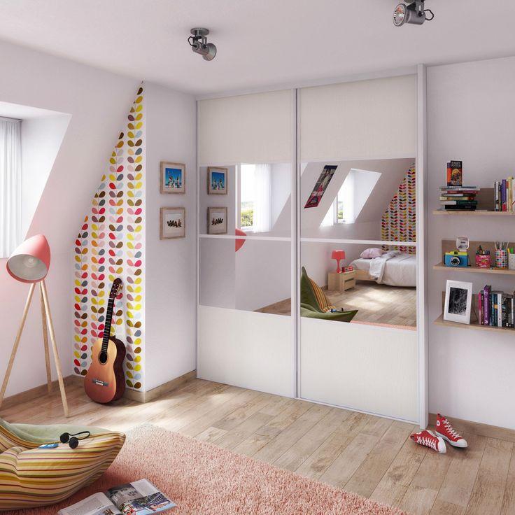 17 meilleures id es propos de portes de placard miroir for Deco chambre avec poutre apparente