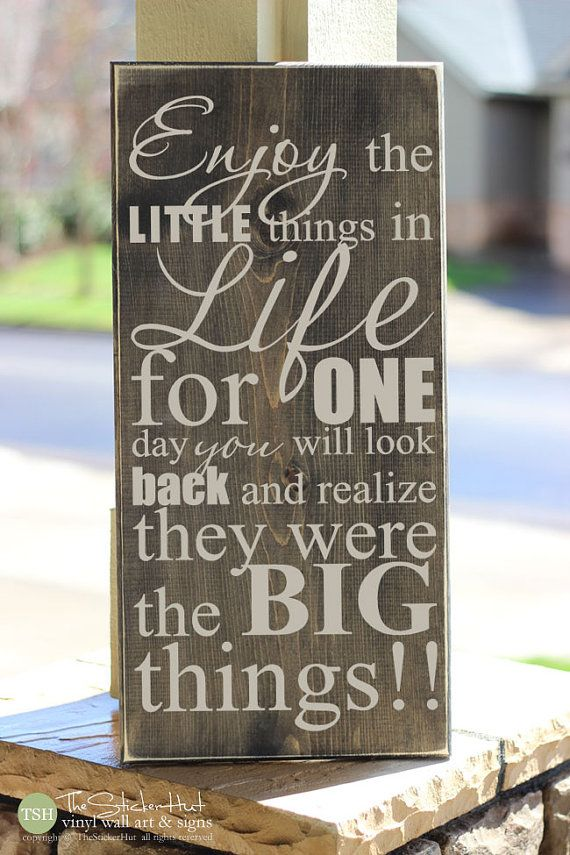 Enjoy the Little Things in Life For One Day You Will Look Back - Home Decor Wood Sign Quote Saying Distressed Wooden Sign S87