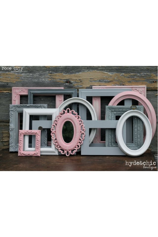 """I love these colors as a theme in a baby girl's nursery! I'm not the biggest fan of pink, but having it as an """"off pink"""" & with the grey hues or light blue is really pretty!"""