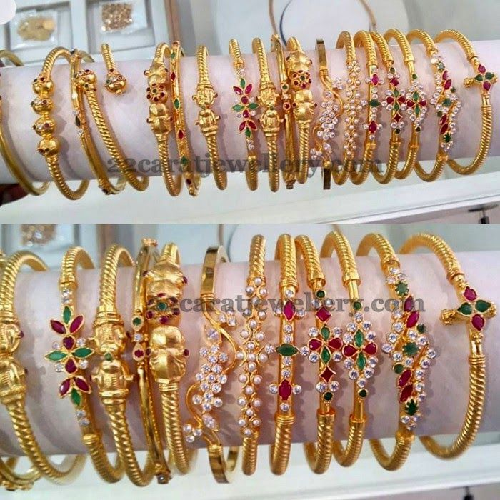 Jewellery Designs: Light Weight and Thin Gold Kada Sets
