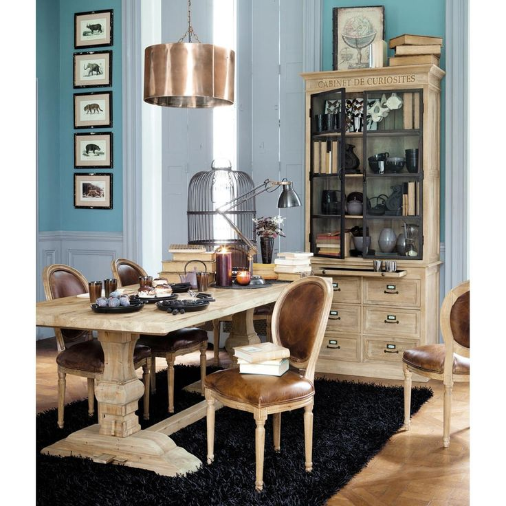 Mesa de comedor de madera efecto envejecido An. 220 cm Lourmarin | Maisons du Monde