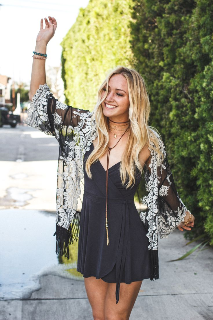 Black wrap-around mini dress and sheer black+lace kimono