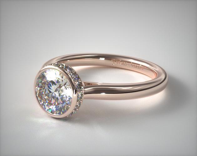 53468 engagement rings, tension, 14k rose gold pave crown bezel engagement ring item - Mobile