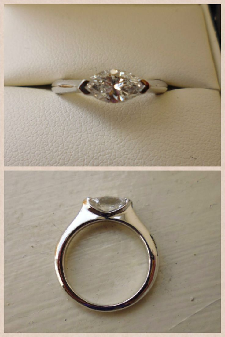 Another possible setting? Marquise diamond east west setting in white gold.