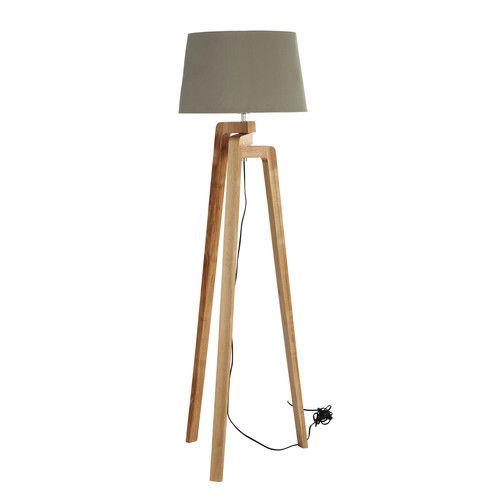 Lampadaire trépied en bois et coton H 150 cm NORDIC