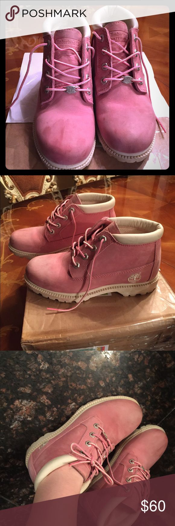 Pink and white Timberland boots preloved Preworn but still has life in them authentic 100% Timberland Shoes Lace Up Boots