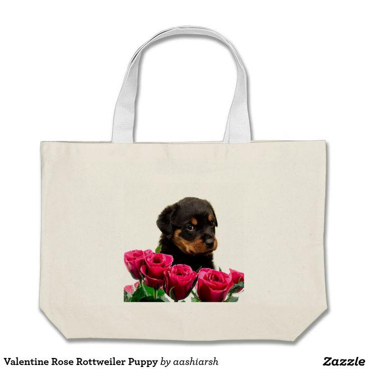 #Valentine #Rose #Rottweiler #Puppy Jumbo #Tote #Bag #shopping #flowers #nature #dog