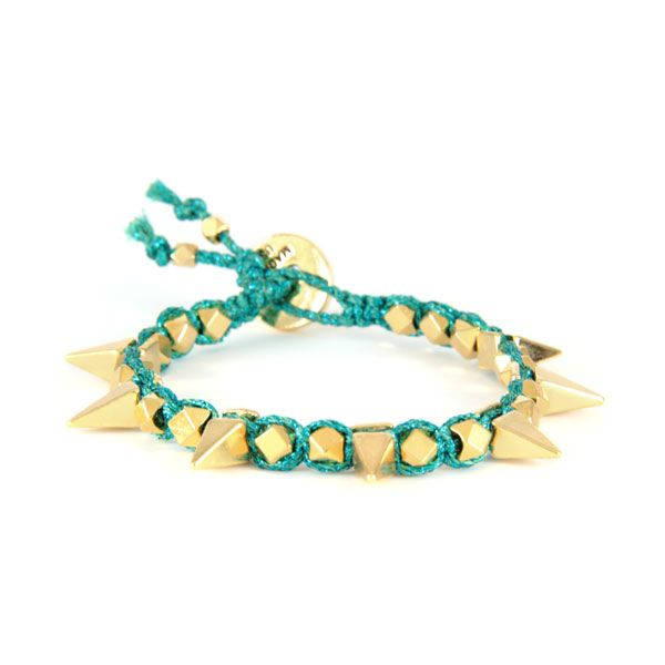 Ettika :: Bracelets :: Spikes :: Macrame Turquoise Metallic Thread Bracelet with Gold Spikes