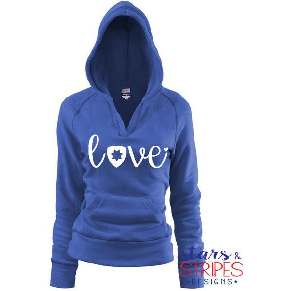 Chp Love v Hoodie California Highway Patrol Police Wife Fiance... ($37) ❤ liked on Polyvore featuring tops, hoodies, red, women's clothing, red hoodie, red hoodies, v neck hoodie, blue hoodies and blue top