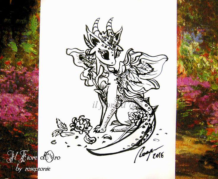 Drago della Rosa. Disegno Haiku, illustrazione fantasy originale a inchiostro su carta alta qualità, drago mito collezione fiamma di ilFioredOro su Etsy https://www.etsy.com/it/listing/397938159/drago-della-rosa-disegno-haiku