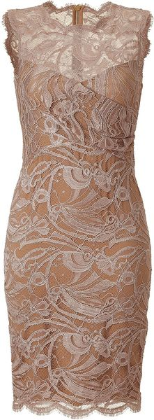EMILIO PUCCI Pink Pearl Lace Dress. Elegant lace gets an of-the-moment redux with this body-con sheath dress from Emilio Pucci. High round neck, sleeveless, sheer lace-detailed overlay, solid sweetheart bustier-cut bustline, fitted silhouette, exposed back zip closure. Pair with fishnet stockings, statement platforms, and a studded clutch.
